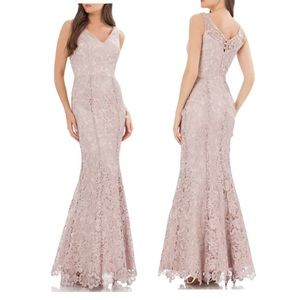 JS Collections Sleeveless Floral Lace Mermaid Gown